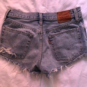 501 Light Wash Distressed Denim Cutoff Shorts